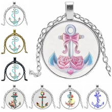 HOT! 2019 Statement Necklace Fashion Rose Anchor Glass Convex Round Pendant Necklace Charm Girl Jewelry