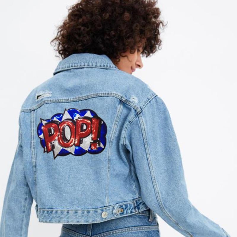 2pcs Sequins Patch Fashion DIY T-shirt Girls Sequin POP Letters Cloth Paste Iron On Clothes Trousers