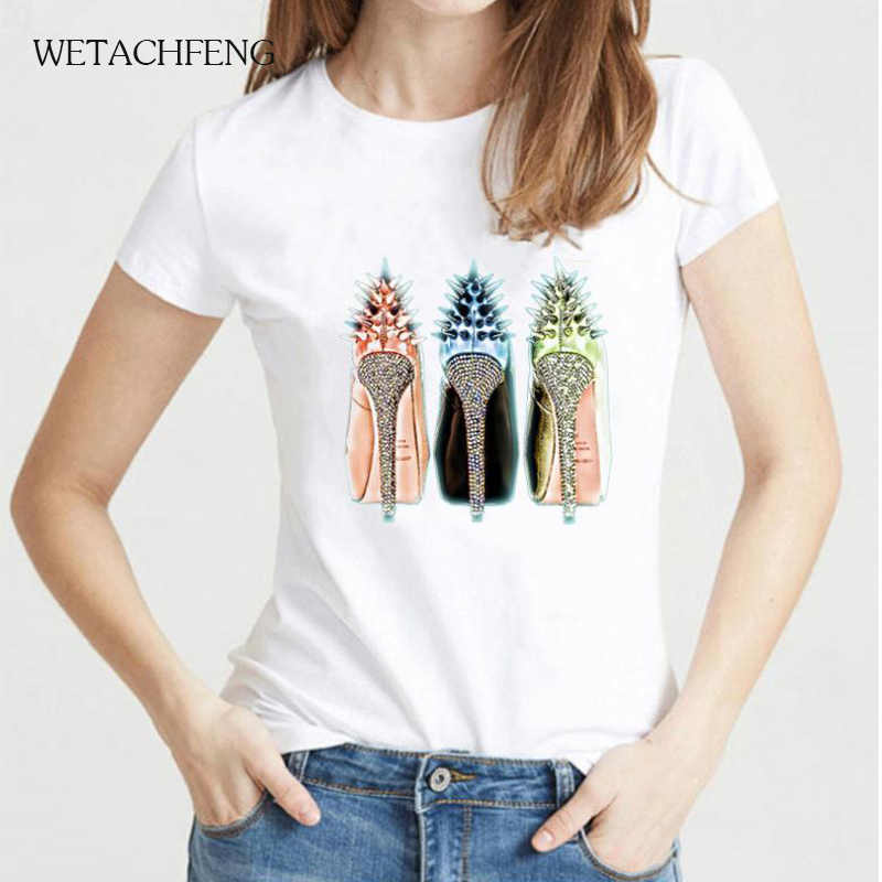 Dropshipping 하라주쿠 화이트 Tshirt 2020 탑 티 루스 캐주얼 수채화 하이힐 프린트 패션 플러스 사이즈 티셔츠 여성 의류