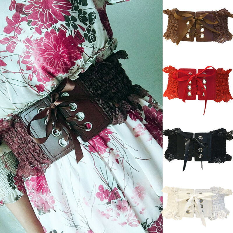 Women Vintage PU Cummerbunds Belt Waist Cincher Lace Up Corset High Stretchy Wide Waistband