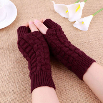 Autumn Winter Women Warmth Knitted Arm Fingerless Gloves Long Stretchy Mittens Men Hand Warm Female