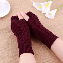 Autumn Winter Women Warmth Knitted Arm Fingerless Gloves Long Stretchy