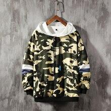 Camo Hoodies Men Fashion Print Casual Military Wind Hooded Pullover Man Streetwear Hip Hop Loose Sweatshirt Large Size M-5XL