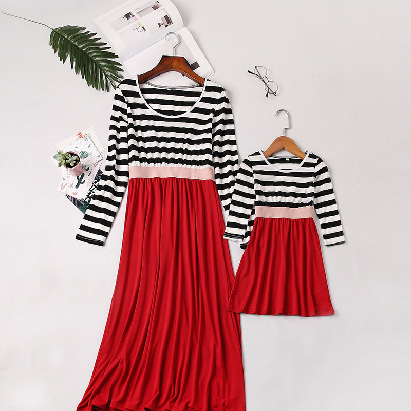 Mommy And Me Long Sleeve Dresses Family Matching Dress Mother Daughter Spring Autumn Fashion Striped Outfits Look Cloghing