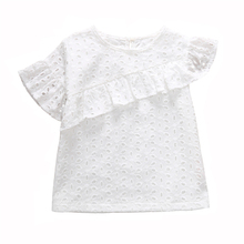 1-6Y Baby Girls Shirt White Girl Tops Cotton T-shirt Kids Ruffle Short Sleeve Tee Shirt Enfant