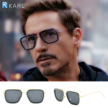 Iron Man Sunglasses Avengers Robert Downey Jr Tony Stark Men Luxury Brand Designer Square Women Lunette Soleil Homme