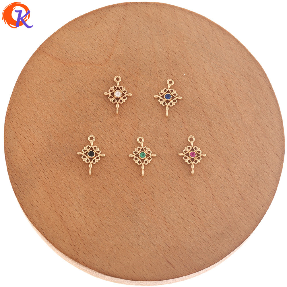 Cordial Design 100Pcs 10*14MM CZ Earrings Connectors/Jewelry Accessories/Hand Made/DIY Parts/Earring Findings/Jewelry Making