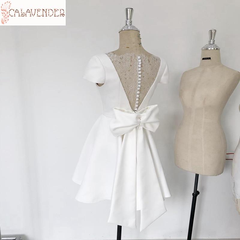 White Cocktail Dresses A-line with Lace Back vestidos formales V-Neck Short Sleeve Prom Short Dress