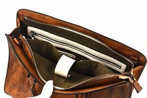 Image 5 - PNDME vintage hohe qualität aus echtem leder herren aktentasche business laptop handtasche luxus rindsleder büro schulter messenger taschen