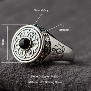 Image 2 - 925 Sterling Silver Lotus Rings For Women And Men Rotatable Natural Stone Inlaid Six Words Mantra Rings Buddhist Jewelry