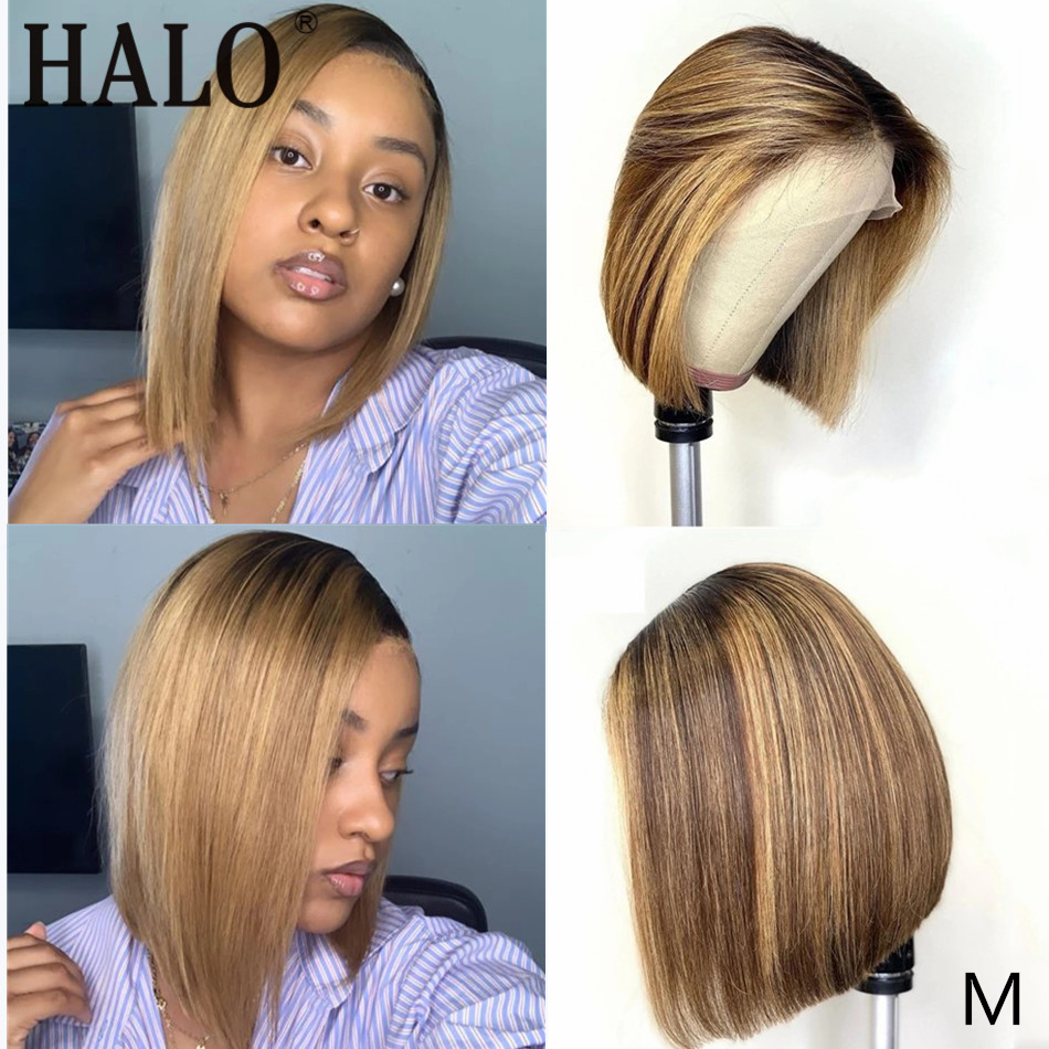 HALO Short Bob Ombre 4/27 Color 13*4 Lace Front Human Hair Wigs Middle Ratio Brazilian Remy Hair Pre-Plucked Wigs 150 Density