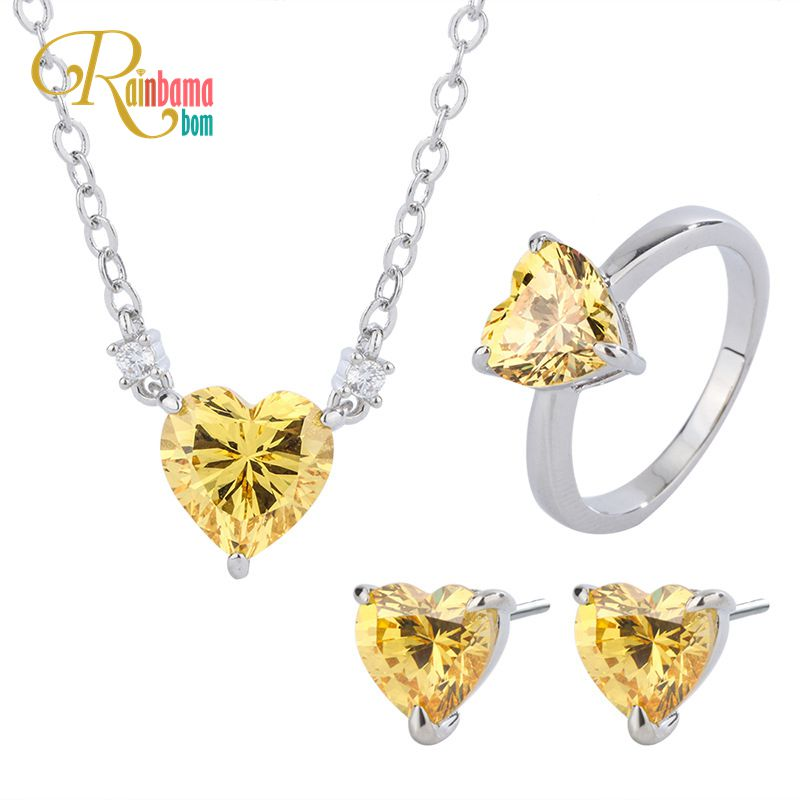 Rainbamabom 925 Solid Sterling Silver Citrine Gemstone Ring/Earrings/Necklace Wedding Engagement Fine Jewelry Sets Wholesale