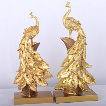 Golden Peacock Miniature Figurines Resin Crafts Home Decoration Accessories Christmas Gift Desk Decoration Christmas Decorations