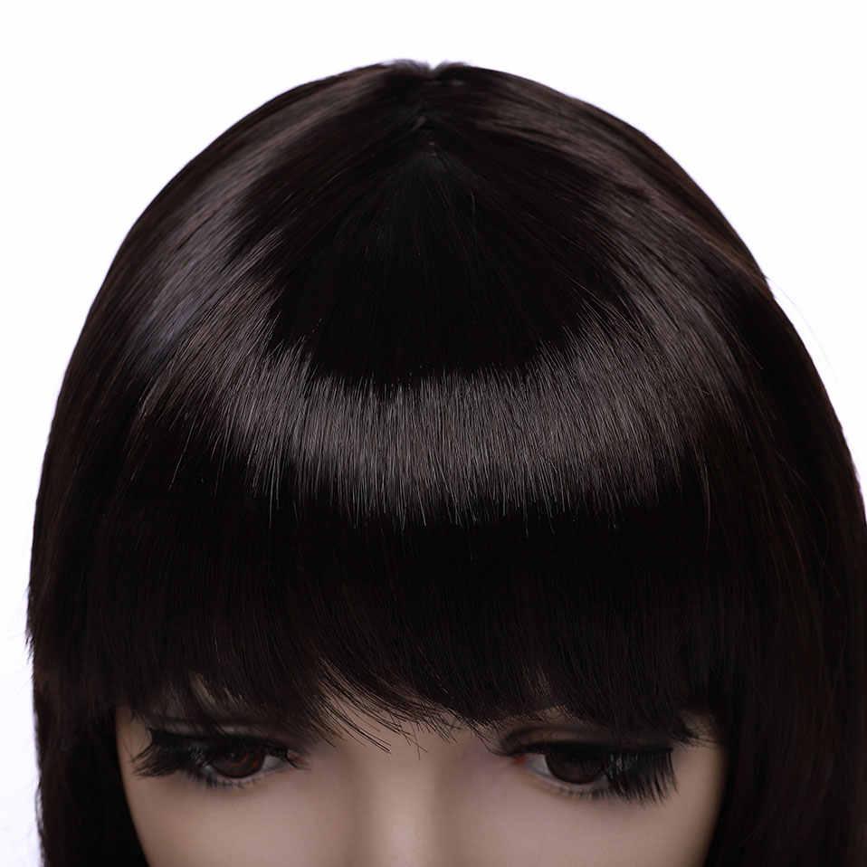 Perruque synthétique lisse à frange noire brune auburn-s-noilite | Perruque longue de 20 pouces pour femmes, perruque pour fête et cosplay