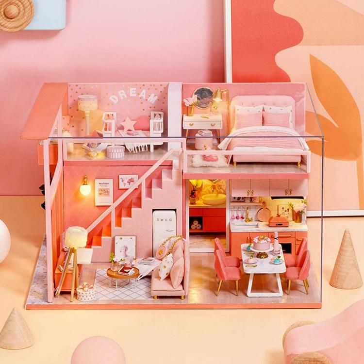 Комплект миниатюрного кукольного домика SG & DIY, аксессуары для мини кукольного домика, деревянные модели, наборы с мебельной игрушкой, пылен...