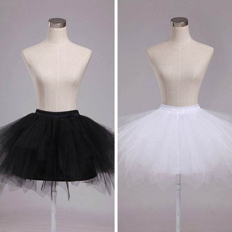 Women 4 Layer Elastic Drawstring Waist Underskirt Solid Color Short Petticoat Soft Tulle Mesh Puffy Tutu Skirt For Wedding Dress