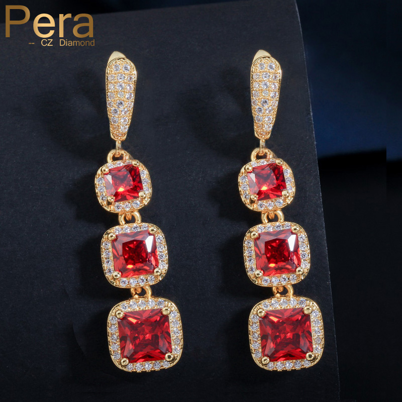 Fashion Women Gold Plated Red Cubic Zirconia CZ Leaf Earrings Jewelry