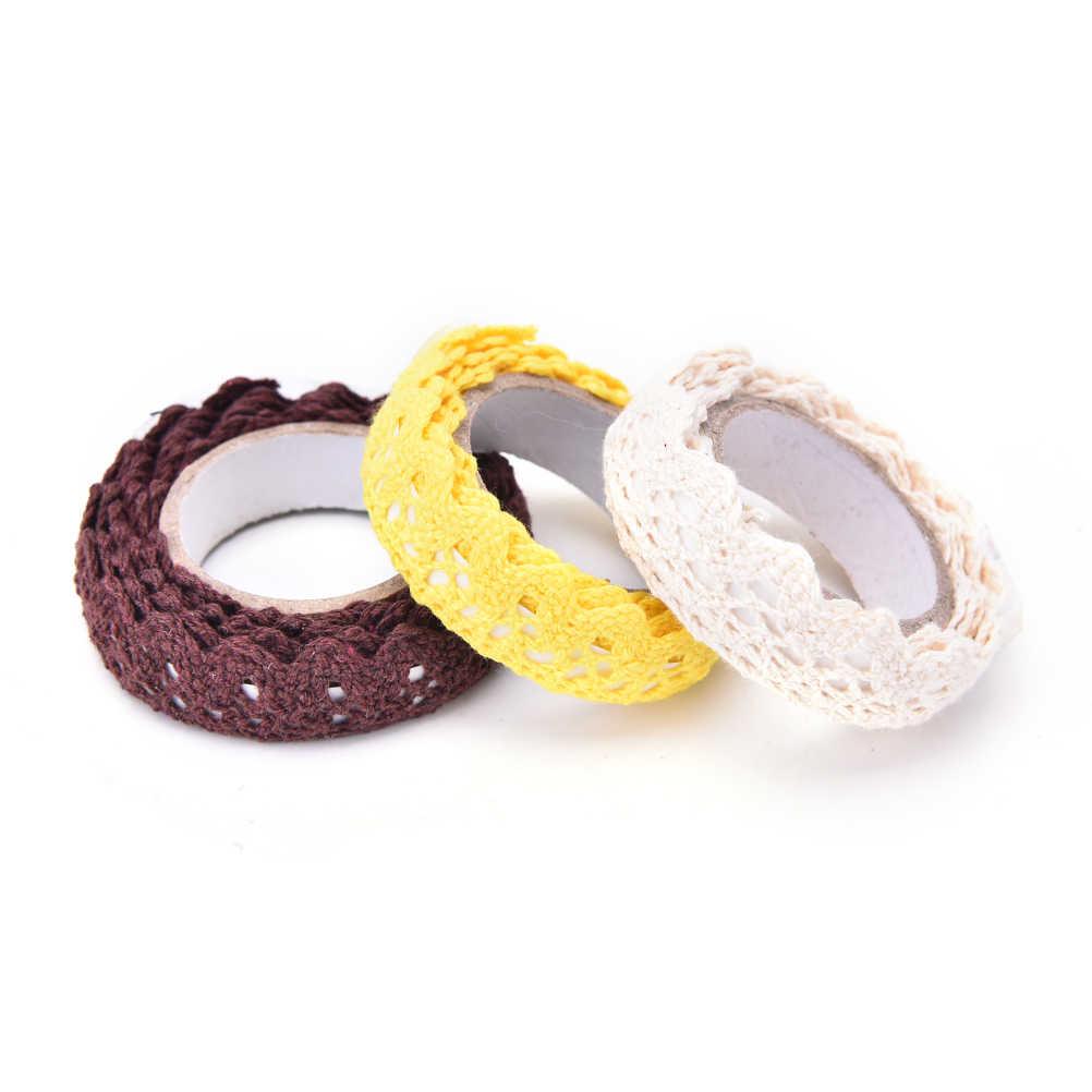 1PC 9 Colori Nastro Adesivo Autoadesivo Della Decorazione del Mestiere Tessuto di Pizzo di Cotone Bianco Del Merletto Del Crochet Rotolo di Nastro Maglia