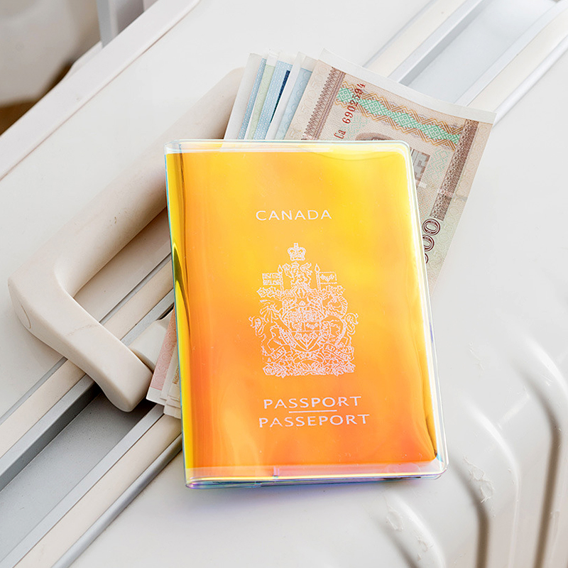 Fashion Laser Dazzle Colour Passport Holder Cover Women Travel Accessories PVC Transparent Passport Cover Ticket ID Card Holders