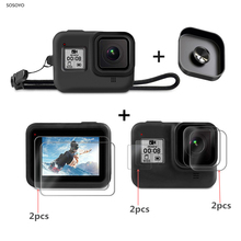 9 in 1 Suit Silicone Case Lens Cap Protector Cover Tempered Glass Protective Film Set For GoPro Hero 8  Action Camera Accessory