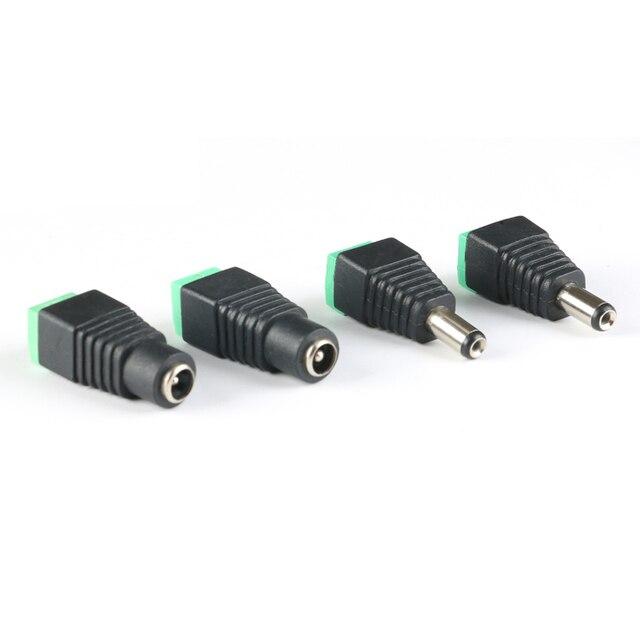 10Pcs Fêmea 5.5x2.1mm Masculino DC Power Plug Adapter para 5050 3528 5060 Cor Única LED Strip e Câmeras de CCTV 5.5x2.5