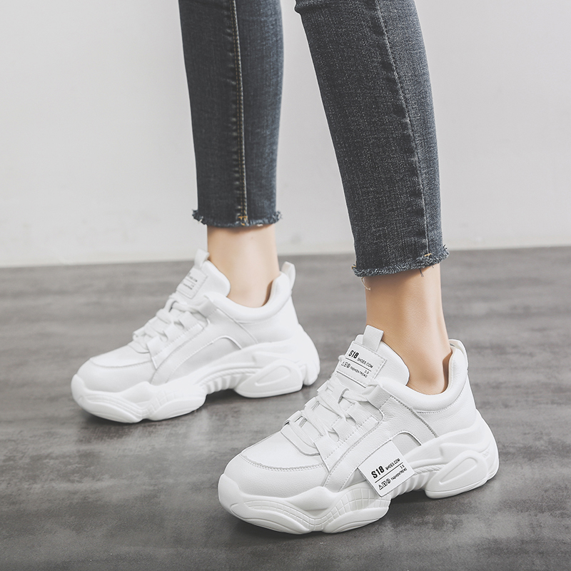 Lace-Up Platform Warm Sneakers Women 2019 Spring Autumn Shoes Fashion Sweet Shoes Woman Sneakers Beige Casual Female Shoes