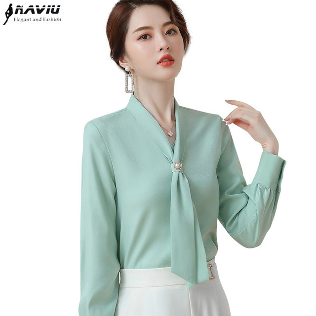 ライトグリーン長袖シャツ女性秋ゆるいカジュアルな弓リボンol高品質ファッションブラウスオフィスレディースワークトップ