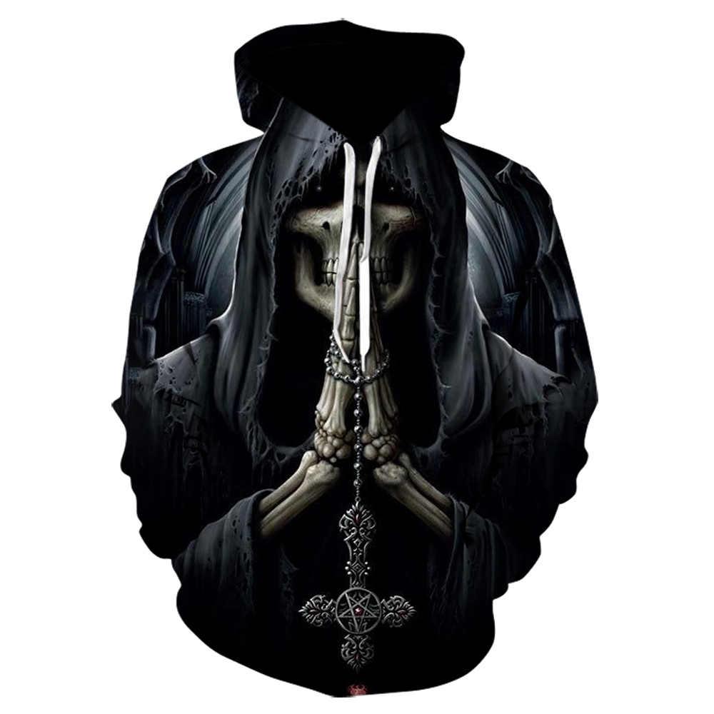 חדש סקסי יוניסקס מעיל סווטשירט 3D הדפסת להבת גולגולת קפוצ 'ון היפ הופ אופנה מעיל גברים של סוודרים כבוי לבן נים 2019