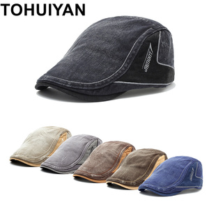TOHUIYAN Mens Vintage Cotton Newsboy Hats Spring Summer Duckbill Visor Peaked Cap Baker Boy Boina Flat Cap Brand Beret Hats Caps