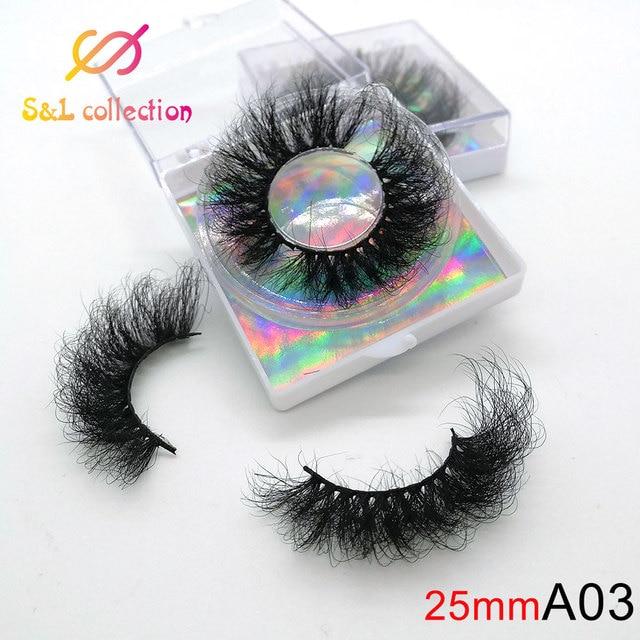 25mm Eyelashes Long 3D mink lashes long lasting mink eyelashes Big dramatic volumn eyelashes strip individual false eyelash 1