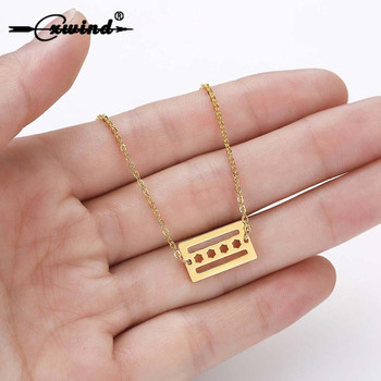 Cxwind Stainless Steel Chicago flag Necklaces for Women Lover's Charm Flag Pendant Necklace Simple Chain Geometric Square Collar image