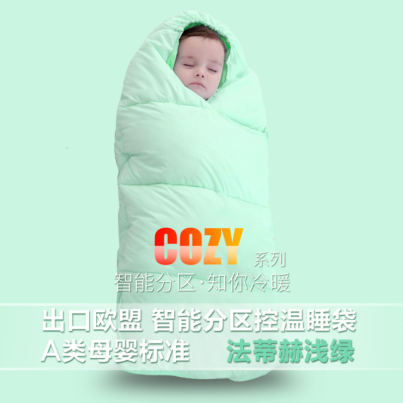 Зимняя утолщенная детская спальная сумка для детей от 0 до 24 месяцев, детская теплая зимняя сумка для коляски, плотные теплые спальные мешки для младенцев - Цвет: light green
