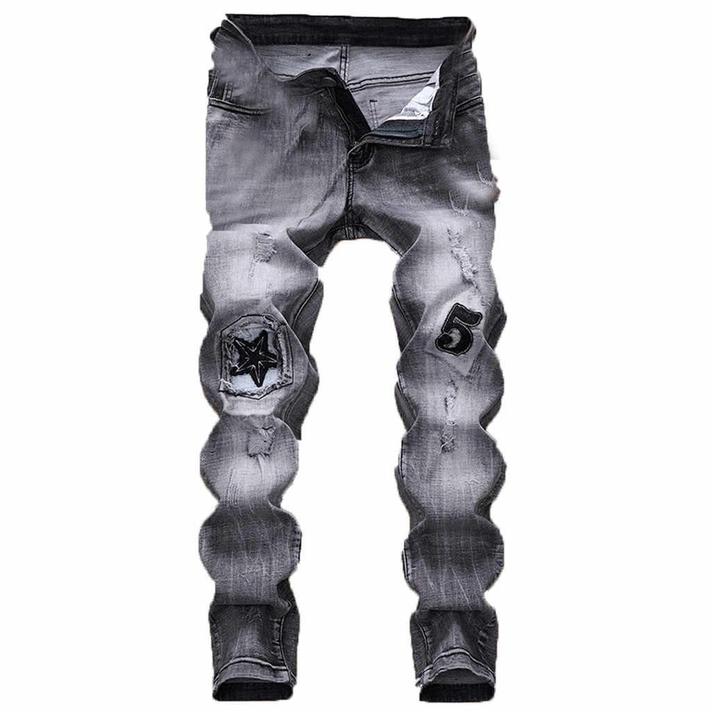Mannen Broek Hip Hop 2019 Heren Mode Rits Broek Skinny Stretch Denim Broek Slim Fit Jeans Broek Moletom Masculino GH50