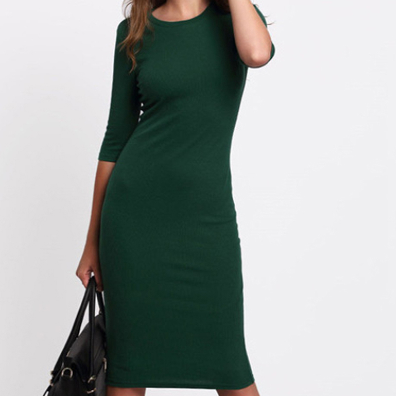 2019 Summer Women Bodycon Dresses Casual Crew Neck Half Sleeve Green Solid Midi Dress Elegant Slim Sheath Vestidos Female