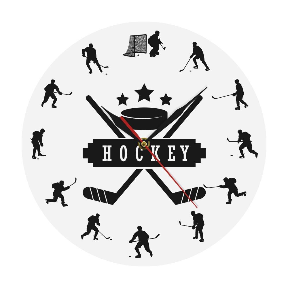 Hockey Players Silhouette Sports Wall Art Modern Wall Clock Boys Room Decor Wall Hanging Clock Watch Gift For Ice Hockey Athlete