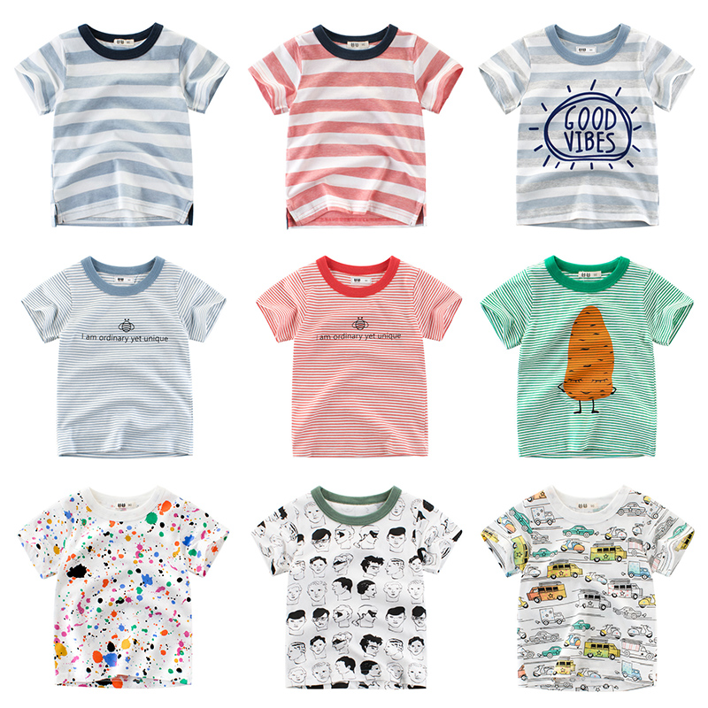 Girls T Shirt Short Sleeves Cotton Tops Boys Baby Children Clothing Summer O Neck Tee Toddler Infant For 2-8 Years