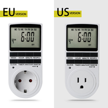 Programmable Timing Socket Electronic Digital Kitchen Timer Plug Timer Switch EU/US Plug 12/24 Hour Cyclic 220V