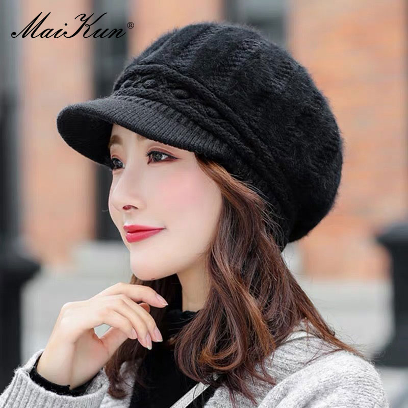 Maikun Hats For Women Autumn And Winter Casual Wild Rabbit Fur Duck Tongue Beret Winter Cold And Warm Knitted Woolen Cap