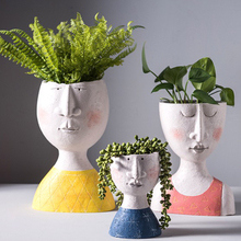 Цветочный горшок с художественным портретом, ваза, скульптура из смолы с человеческим лицом, семейный цветочный горшок ручной работы для са...