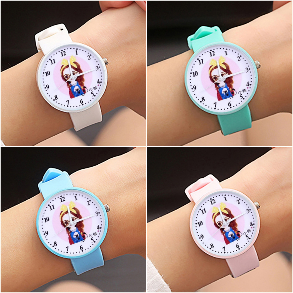 2020 New Hot Princess Girl Pattern Children Watch Fashion Soft Silicone Strap Quartz Wristwatch Casual Girls Kids Clock Reloj