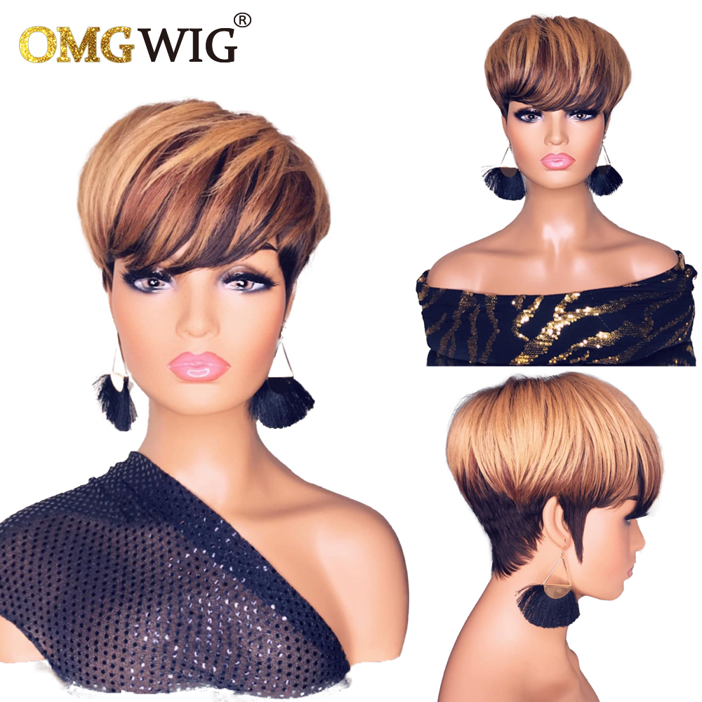 Pelucas de cabello humano ombré para mujeres negras, pelo corto recto Bob Pixie rubio miel brasileño sin peluca con malla frontal con flequillo, T1B/33/27