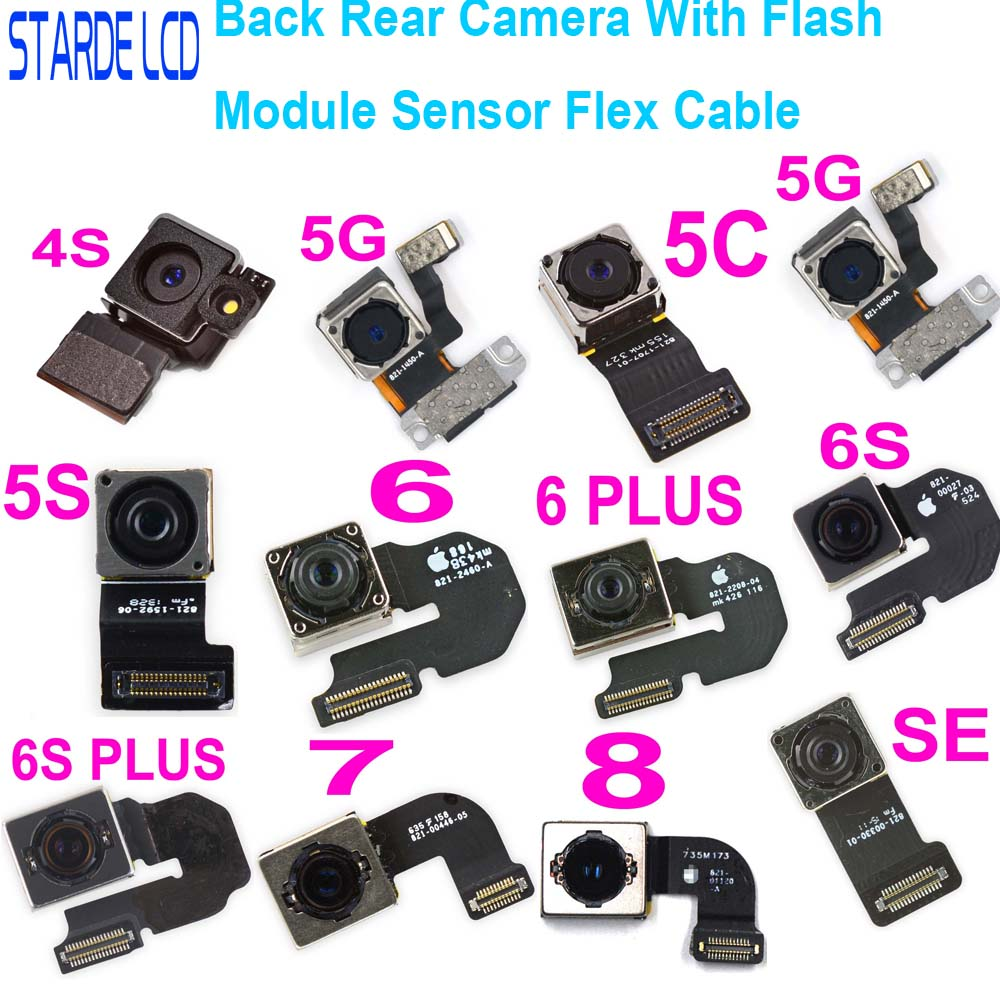 100% Test Back Rear Camera With Flash Module Sensor Flex Cable For IPhone 4s 5 5S 5C SE 6 6S 7 8 Plus X SE X MAX XR XS MAX
