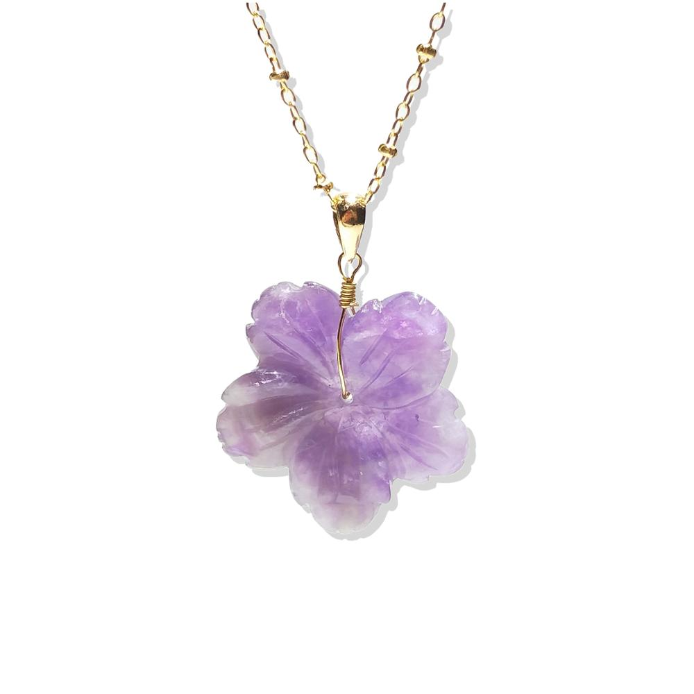 Lii Ji Natural Stone Real Amethyst Flower 925 Sterling Silver Pendant Approx 25-27mm Without Necklace