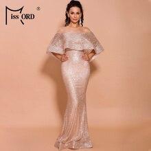 Missord 2019 Otoño e Invierno mujeres Sexy cuello alto malla volantes brillo Maxi elegante vestido reflectante FT19690