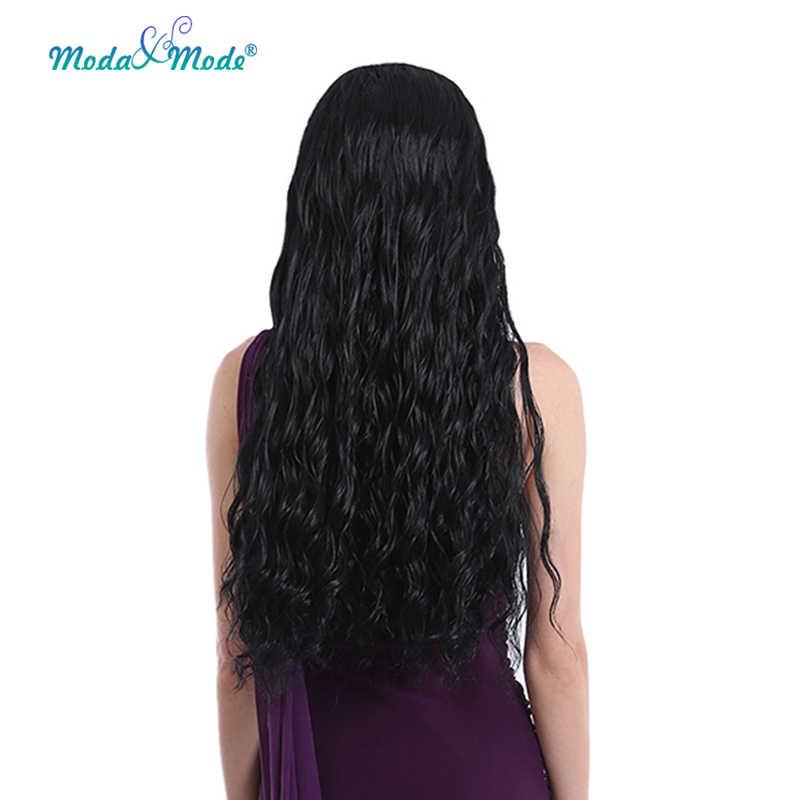 """Mado & mode 28 """"longo onda do corpo peruca dianteira do laço sintético 1b # parte do meio peruca pode ser cosplay e resistente ao calor"""