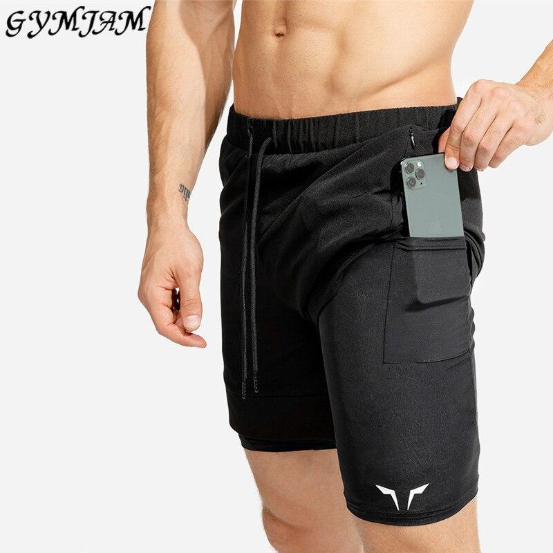 2020 Double Men's Shorts Printed Shorts Muscle Men's Workout Sports Pants Brand Men's Fashion Shorts Jogger Gyms Fitness Shorts
