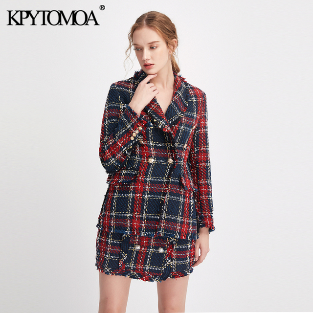 Vintage Double Breasted Frayed Checked Tweed Blazers Coat Women 2020 Fashion Pockets Plaid Ladies Outerwear Casual Casaco Femme