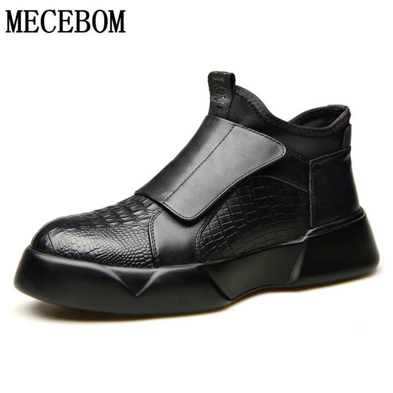 Black Oxford Leather Shoes Men Ankle Boots Autumn Hook&loop Gentlemen Business Formal Shoes Antislip Men Boots
