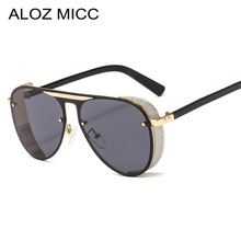 ALOZ MICC Steampunk Sunglasses Men Brand Design 2019 New Big Box Ladies For Fashion Punk Pilot Sunglas UV400 Q703