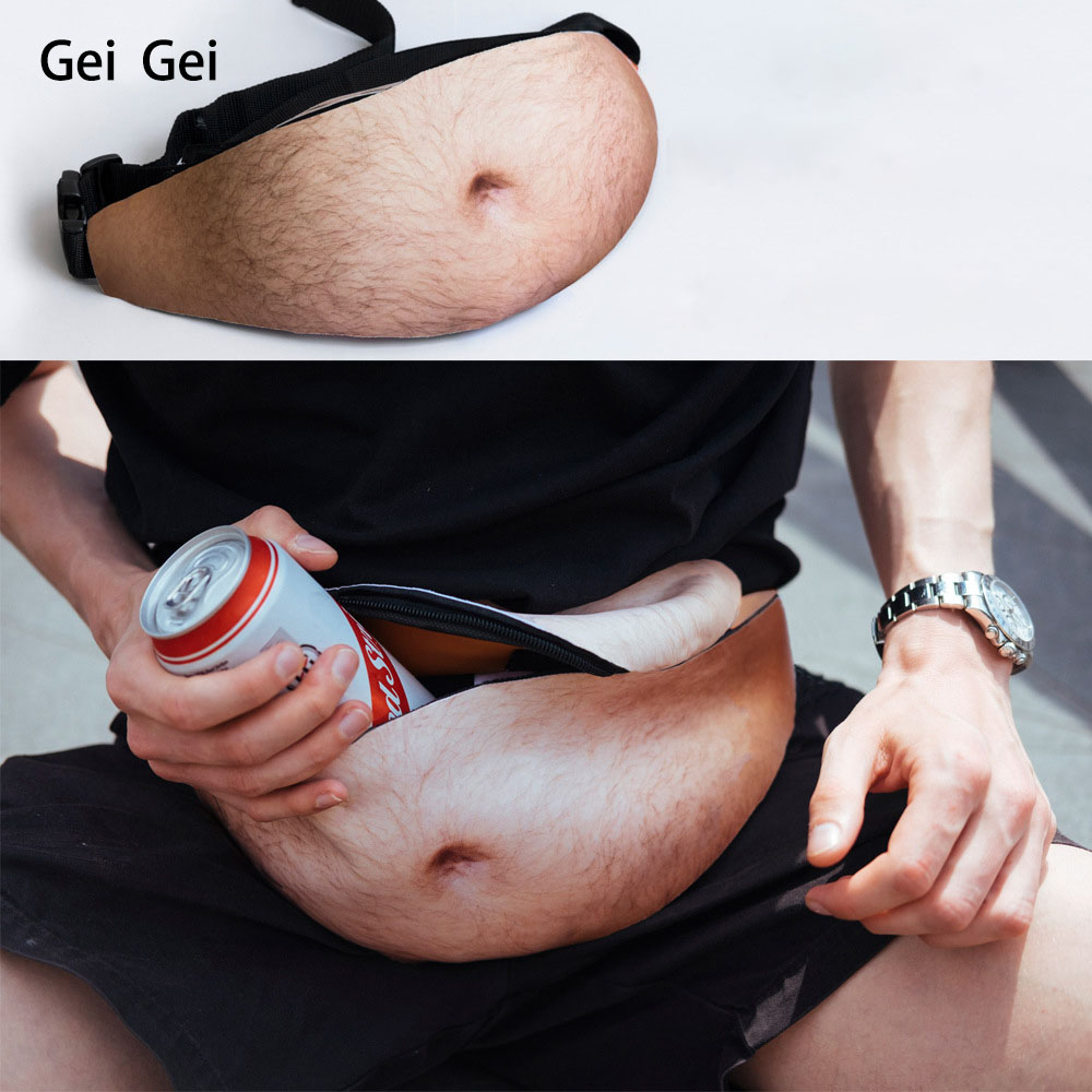 Funny Big Tummy Money Waist Bag DadBag Flesh-colored Travel Chest Bag Creative Waist Bag Simulation Beer Belly Muscle Waist Bag